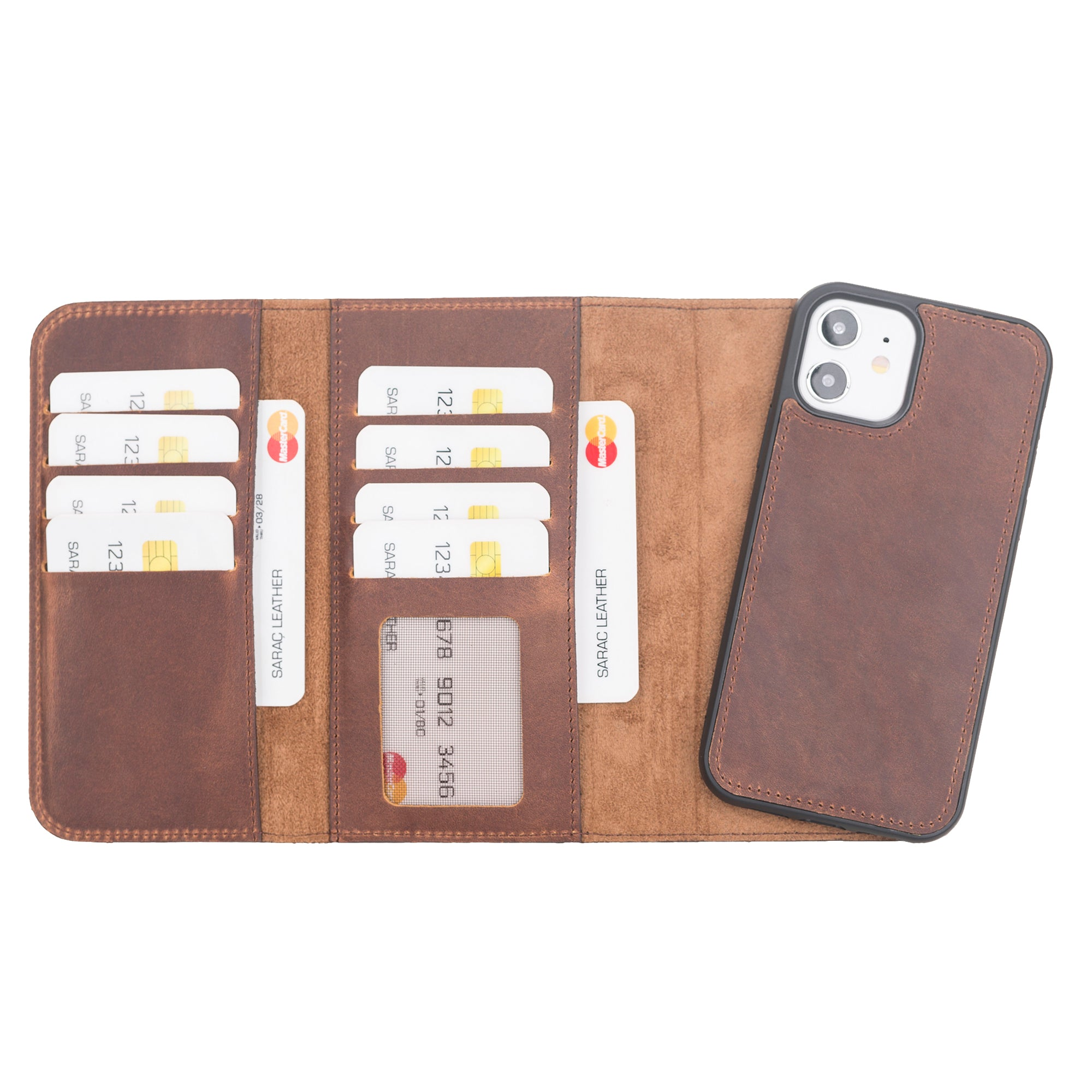 "Santa Magnetic Detachable Leather Wallet Case for iPhone 12 (6.1"") - BROWN - saracleather"