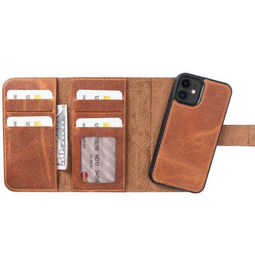 "Santa Magnetic Detachable Leather Wallet Case for iPhone 12 Mini (5.4"") - TAN - saracleather"