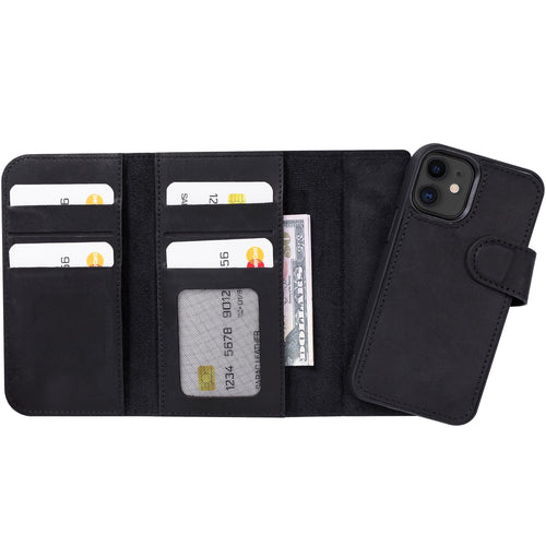 "Santa Magnetic Detachable Leather Wallet Case for iPhone 12 Mini (5.4"") - BLACK - saracleather"