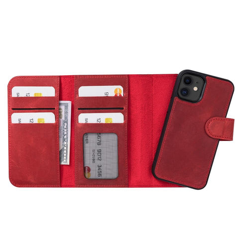"Santa Magnetic Detachable Leather Wallet Case for iPhone 12 Mini (5.4"") - RED - saracleather"