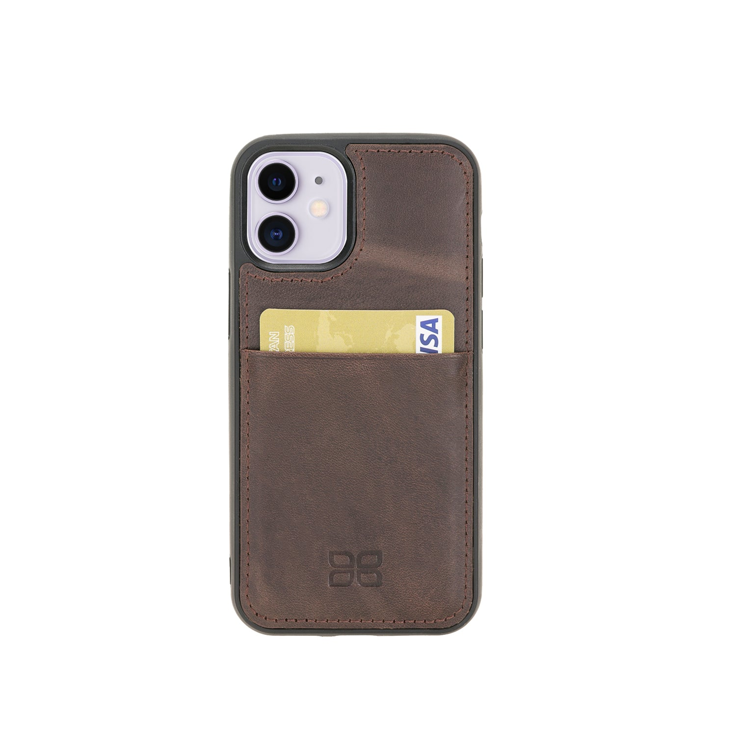 "Flex Cover Leather Back Case with Card Holder for iPhone 12 Mini (5.4"") - BROWN - saracleather"