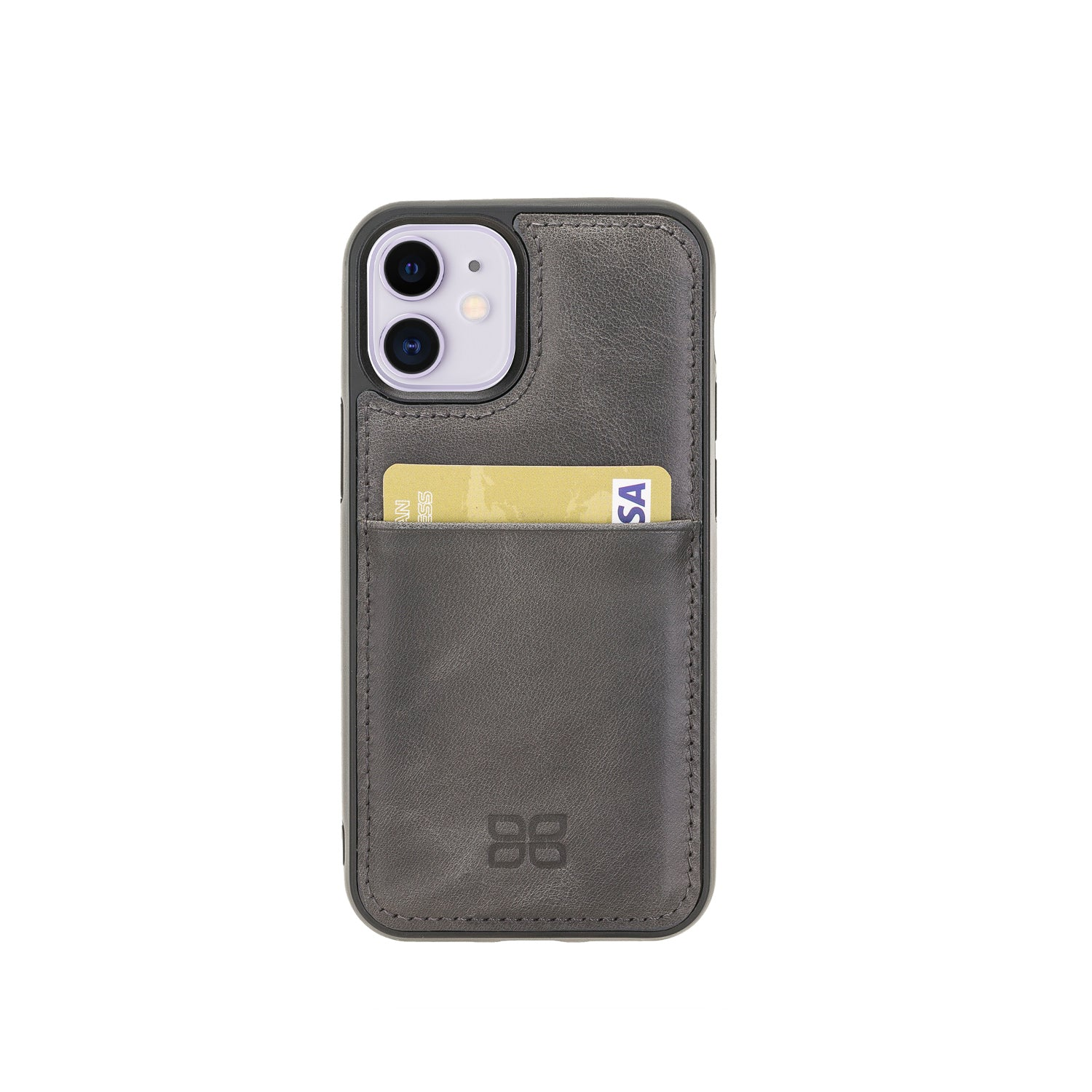 "Flex Cover Leather Back Case with Card Holder for iPhone 12 Mini (5.4"") - GRAY - saracleather"