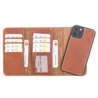 "Santa Magnetic Detachable Leather Wallet Case for iPhone 12 Pro Max (6.7"") - TAN - saracleather"
