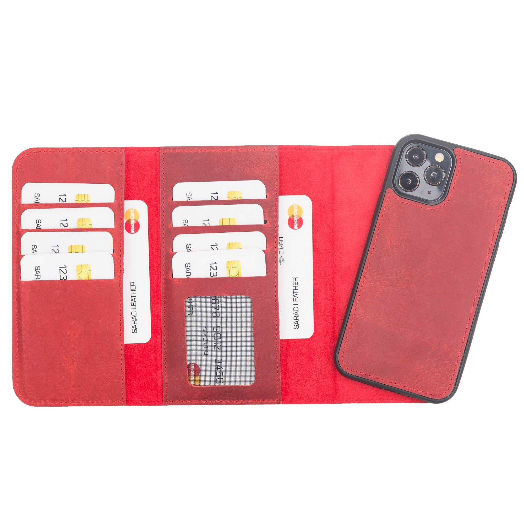"Santa Magnetic Detachable Leather Wallet Case for iPhone 12 Pro Max (6.7"") - RED - saracleather"
