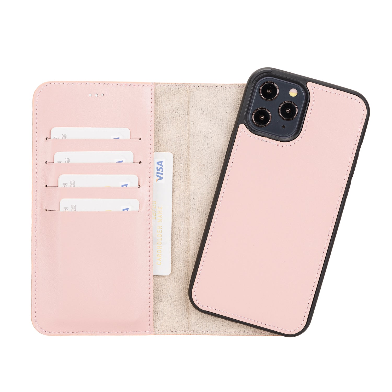 "Magic Magnetic Detachable Leather Wallet Case for iPhone 12 Pro Max (6.7"") - PINK - saracleather"