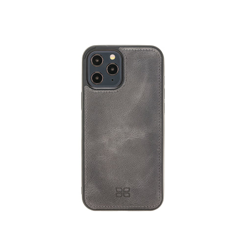 "Flex Cover Leather Back Case for iPhone 12 Pro Max (6.7"") - GRAY - saracleather"