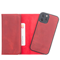 "Santa Magnetic Detachable Leather Wallet Case for iPhone 12 Pro (6.1"") - RED - saracleather"