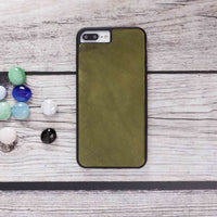 Santa Magnetic Detachable Leather Tri-Fold Wallet Case for iPhone 8 Plus / 7 Plus - GREEN - saracleather