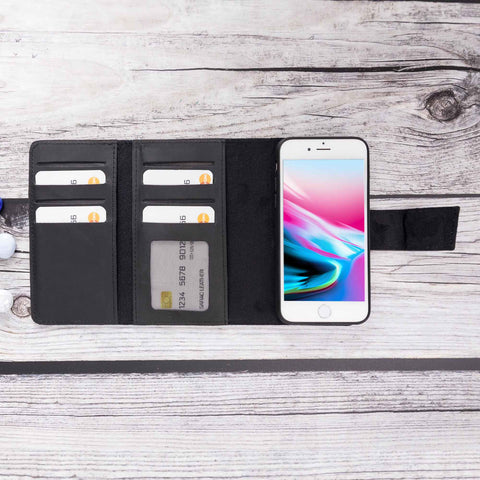 Santa Magnetic Detachable Leather Tri-Fold Wallet Case for iPhone 8 Plus / 7 Plus - BLACK - saracleather