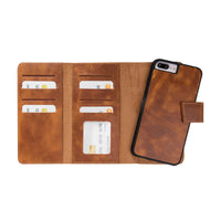 Santa Magnetic Detachable Leather Tri-Fold Wallet Case for iPhone 8 Plus / 7 Plus - TAN - saracleather
