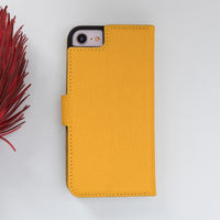 "Magic Magnetic Detachable Leather Wallet Case for iPhone SE 2020 / 8 / 7 (4.7"") - YELLOW - saracleather"