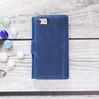 "Santa Magnetic Detachable Leather Tri-Fold Wallet Case for iPhone SE 2020 / 8 / 7 (4.7"") - BLUE - saracleather"