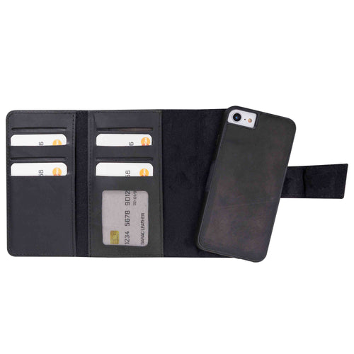 "Santa Magnetic Detachable Leather Tri-Fold Wallet Case for iPhone SE 2020 / 8 / 7 (4.7"") - BLACK - saracleather"