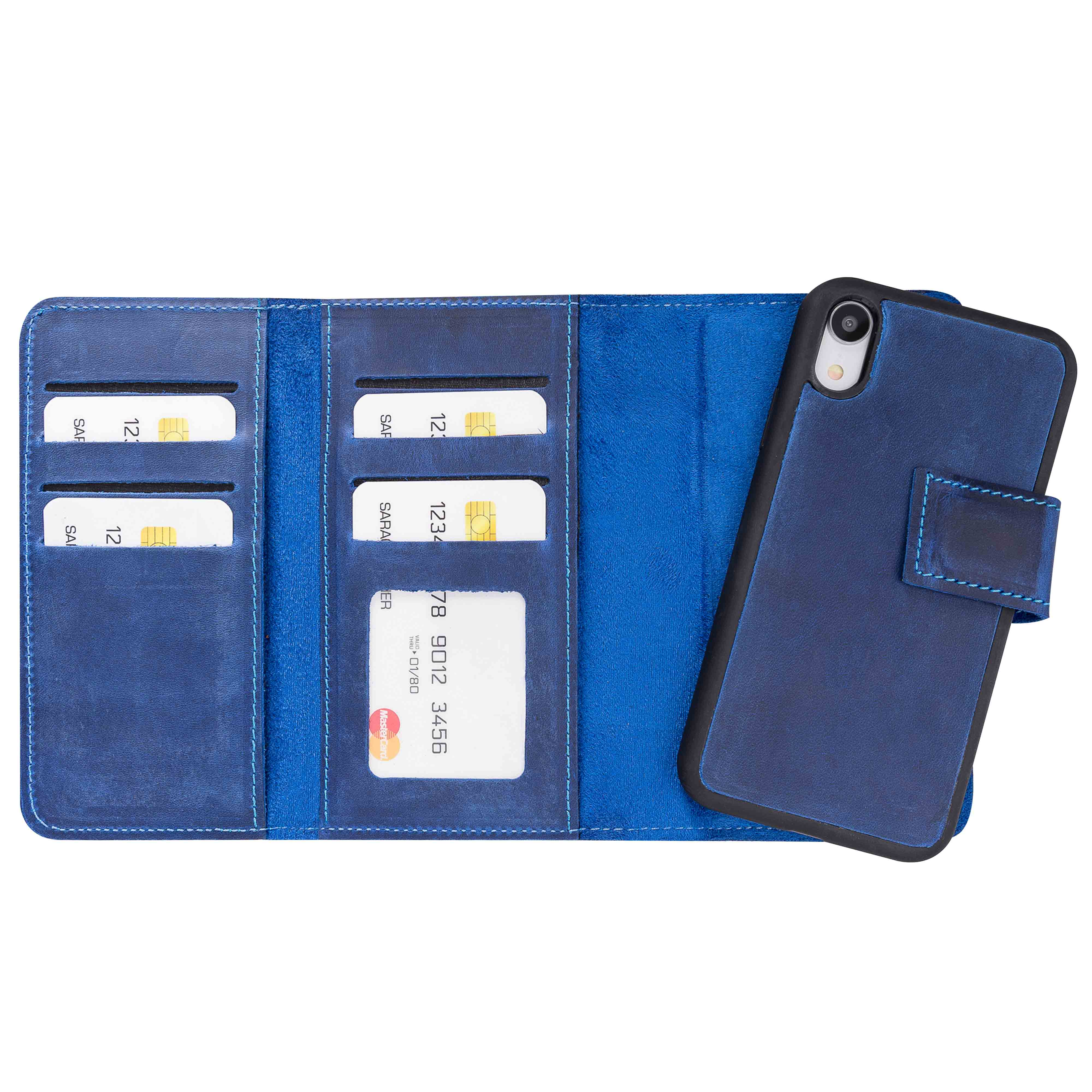 "Santa Magnetic Detachable Leather Tri-Fold Wallet Case for iPhone XR (6.1"") - BLUE - saracleather"
