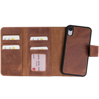 "Santa Magnetic Detachable Leather Tri-Fold Wallet Case for iPhone XR (6.1"") - BROWN - saracleather"