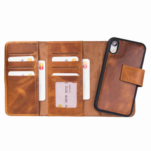 "Santa Magnetic Detachable Leather Tri-Fold Wallet Case for iPhone XR (6.1"") - TAN - saracleather"