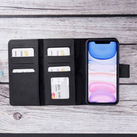 "Santa Magnetic Detachable Leather Tri-Fold Wallet Case for iPhone XR (6.1"") - BLACK - saracleather"