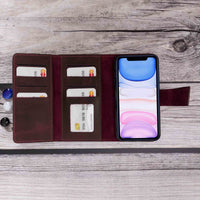 "Santa Magnetic Detachable Leather Tri-Fold Wallet Case for iPhone XR (6.1"") - RED - saracleather"