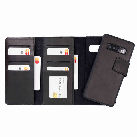 Santa Magnetic Detachable Leather Tri-Fold Wallet Case for Samsung Galaxy S10 - BLACK - saracleather