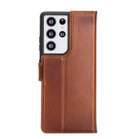 "Magic Magnetic Detachable Leather Wallet Case for Samsung Galaxy S21 Ultra 5G (6.8"") - EFFECT BROWN - saracleather"