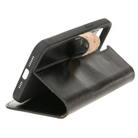 "Wallet Folio Leather Case with RFID for iPhone 12 Mini (5.4"") - BLACK - saracleather"
