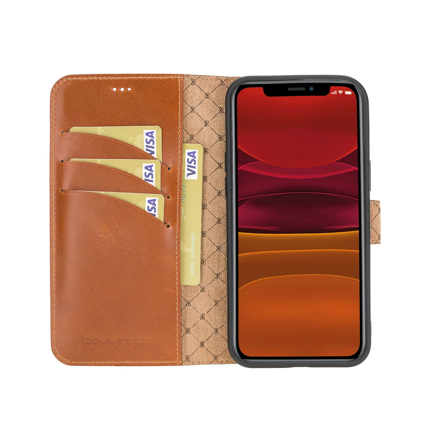 "Wallet Folio Leather Case with RFID for iPhone 12 Mini (5.4"") - EFFECT BROWN - saracleather"