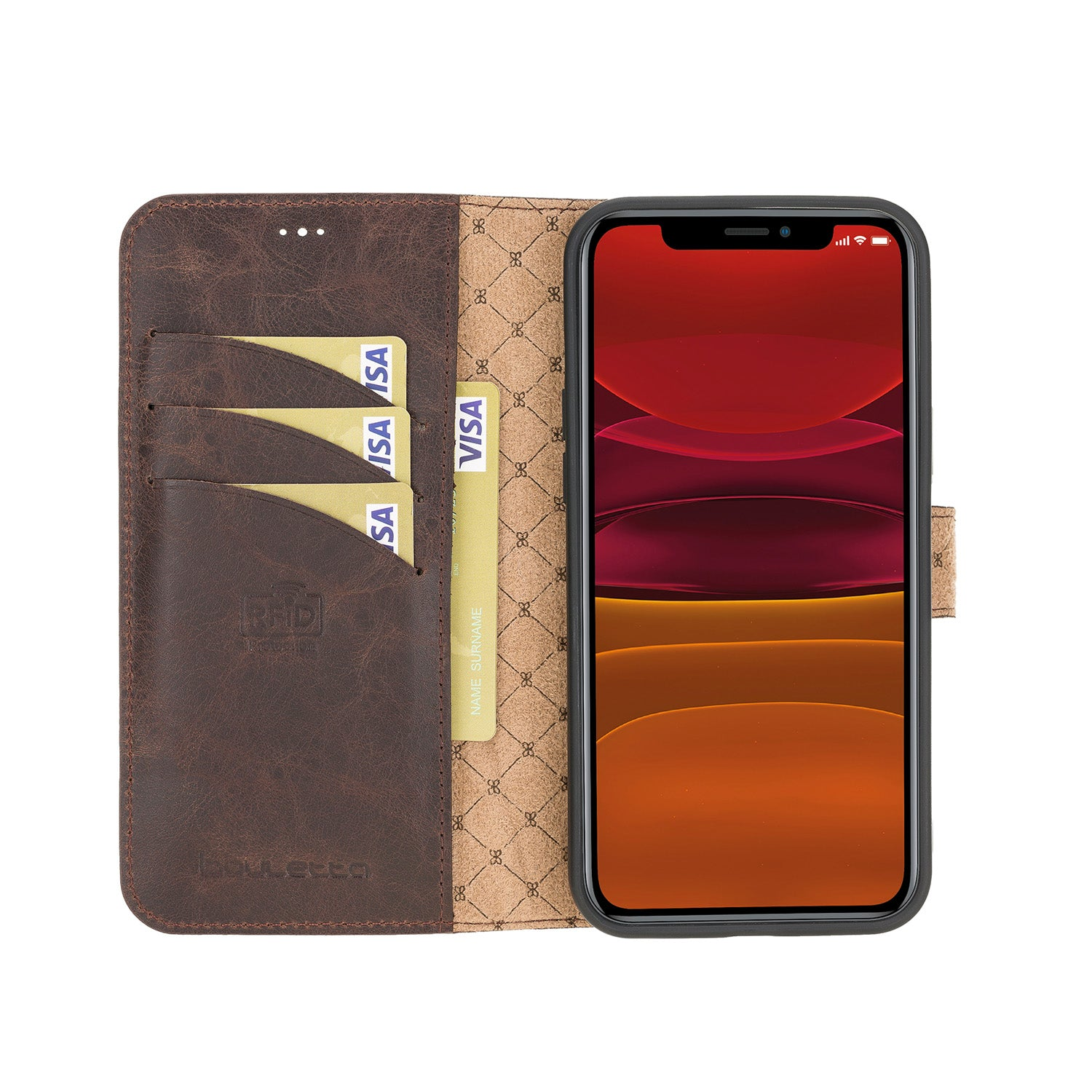 "Wallet Folio Leather Case with RFID for iPhone 12 Mini (5.4"") - BROWN - saracleather"