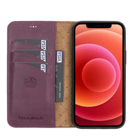 "Magic Magnetic Detachable Leather Wallet Case with RFID for iPhone 12 Pro (6.1"") - PURPLE - saracleather"