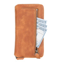 "Pouch Magnetic Detachable Leather Wallet Case for iPhone 12 (6.1"") - TAN - saracleather"
