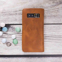 Santa Magnetic Detachable Leather Tri-Fold Wallet Case for Samsung Galaxy Note 8 - TAN - saracleather