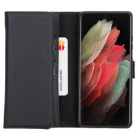"Santa Magnetic Detachable Leather Wallet Case for Samsung Galaxy S21 Plus 5G (6.7"") - BLACK - saracleather"