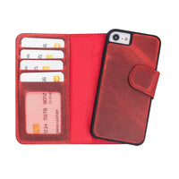"Liluri Magnetic Detachable Leather Wallet Case for iPhone SE 2020 / 8 / 7 (4.7"") - RED - saracleather"