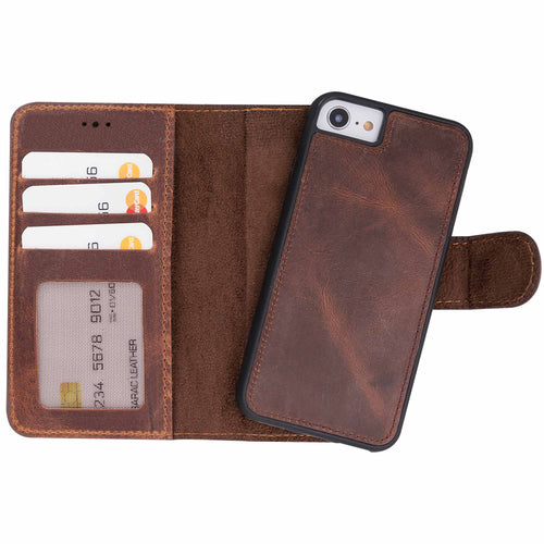 "Liluri Magnetic Detachable Leather Wallet Case for iPhone SE 2020 / 8 / 7 (4.7"") - BROWN - saracleather"