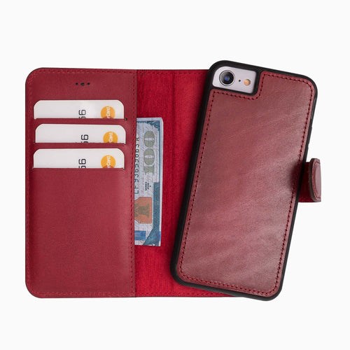 "Magic Magnetic Detachable Leather Wallet Case for iPhone SE 2020 / 8 / 7 (4.7"") - RED - saracleather"