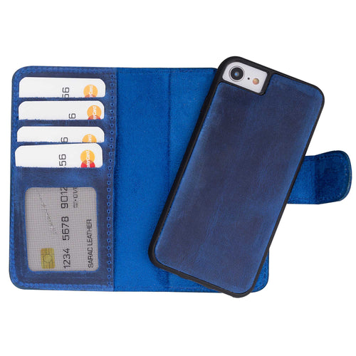 "Liluri Magnetic Detachable Leather Wallet Case for iPhone SE 2020 / 8 / 7 (4.7"") - BLUE - saracleather"