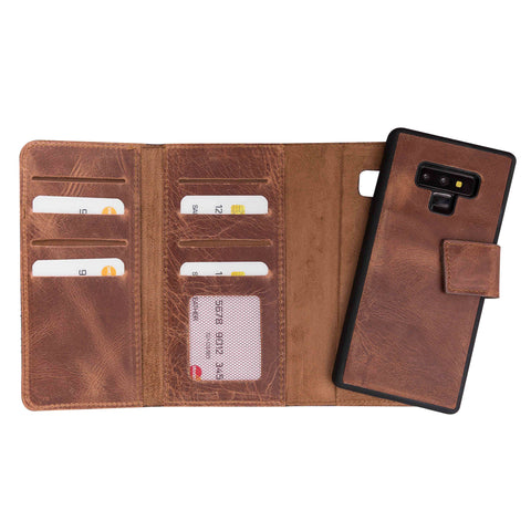 Santa Magnetic Detachable Leather Tri-Fold Wallet Case for Samsung Galaxy Note 9 - BROWN - saracleather