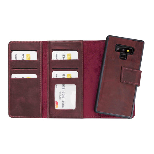 Santa Magnetic Detachable Leather Tri-Fold Wallet Case for Samsung Galaxy Note 9 - RED - saracleather