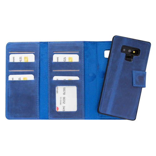 Santa Magnetic Detachable Leather Tri-Fold Wallet Case for Samsung Galaxy Note 9 - BLUE - saracleather