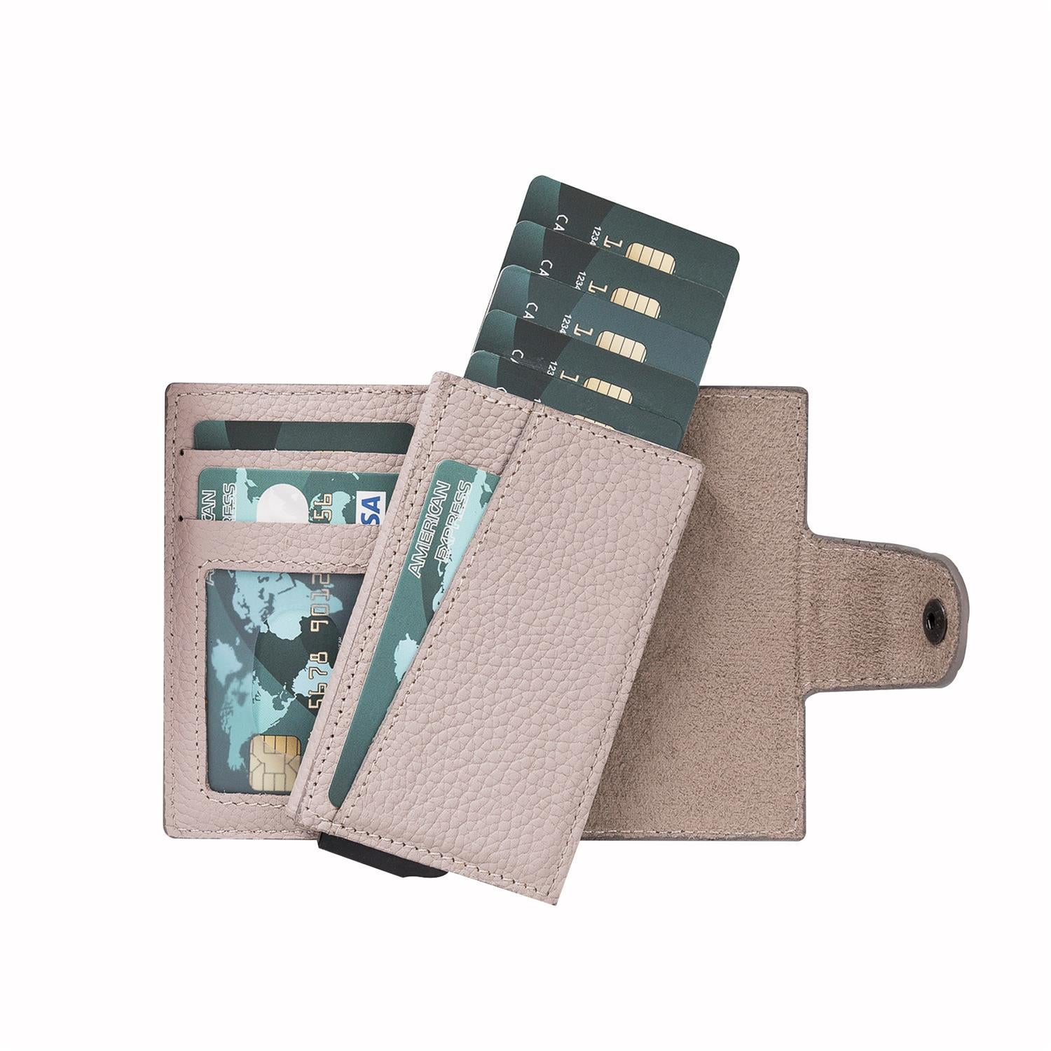 Mondello RFID Blocker Mechanism Pop Up Leather Wallet - GRAY - saracleather