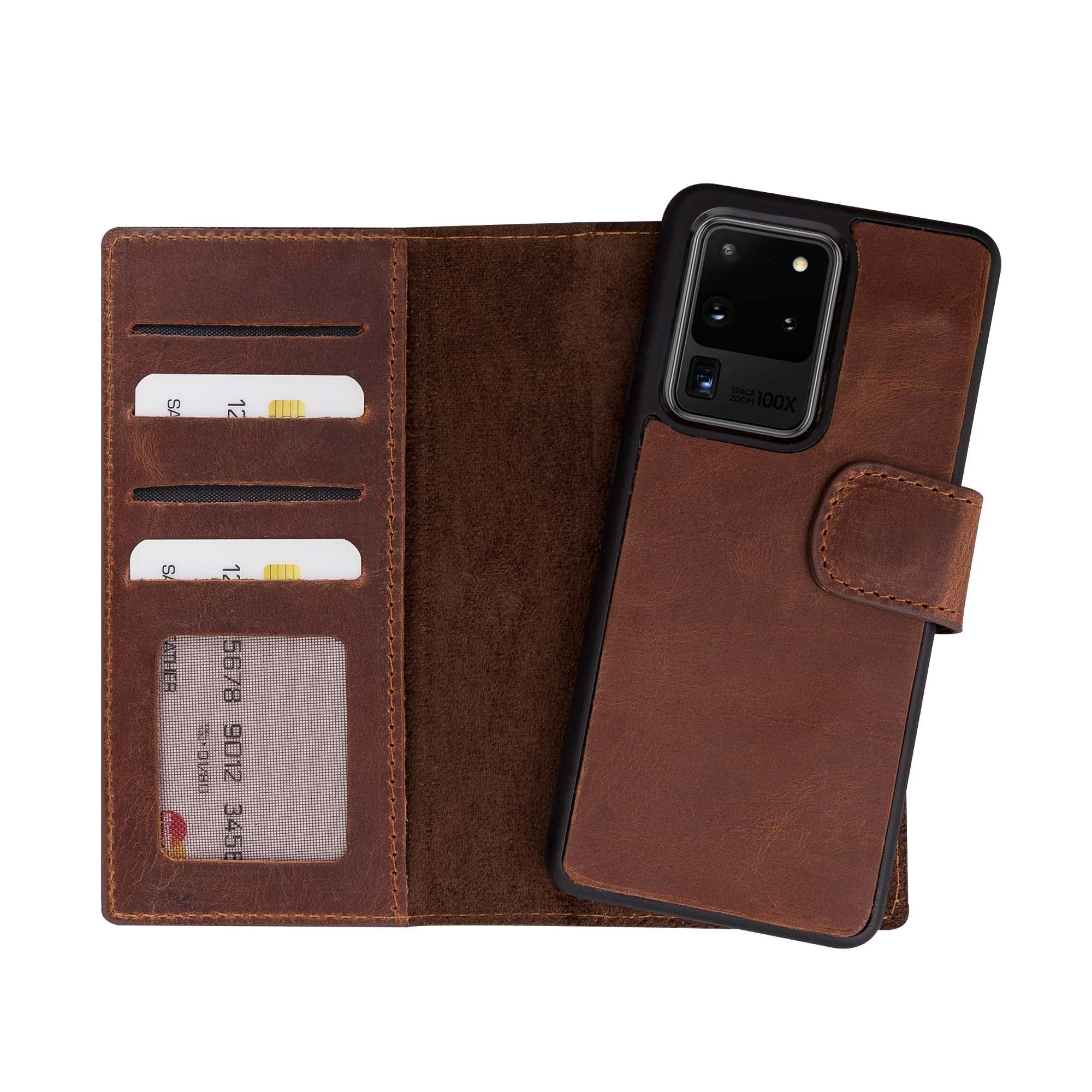 "Liluri Magnetic Detachable Leather Wallet Case for Samsung Galaxy S20 Ultra (6.9"") - BROWN - saracleather"