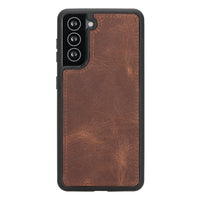 "Magic Magnetic Detachable Leather Wallet Case for Samsung Galaxy S21 5G (6.2"") - BROWN - saracleather"