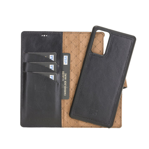 "Magic Magnetic Detachable Leather Wallet Case with RFID for Samsung Galaxy Note 20 / Note 20 5G (6.7"") - BLACK - saracleather"