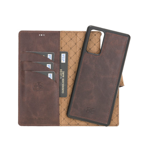"Magic Magnetic Detachable Leather Wallet Case with RFID for Samsung Galaxy Note 20 / Note 20 5G (6.7"") - BROWN - saracleather"