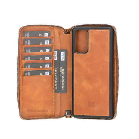 "Pouch Magnetic Detachable Leather Wallet Case for Samsung Galaxy Note 20 / Note 20 5G (6.7"") - TAN - saracleather"