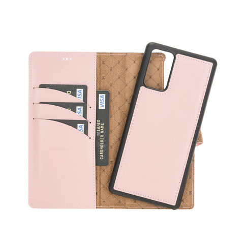 "Magic Magnetic Detachable Leather Wallet Case with RFID for Samsung Galaxy Note 20 / Note 20 5G (6.7"") - PINK - saracleather"