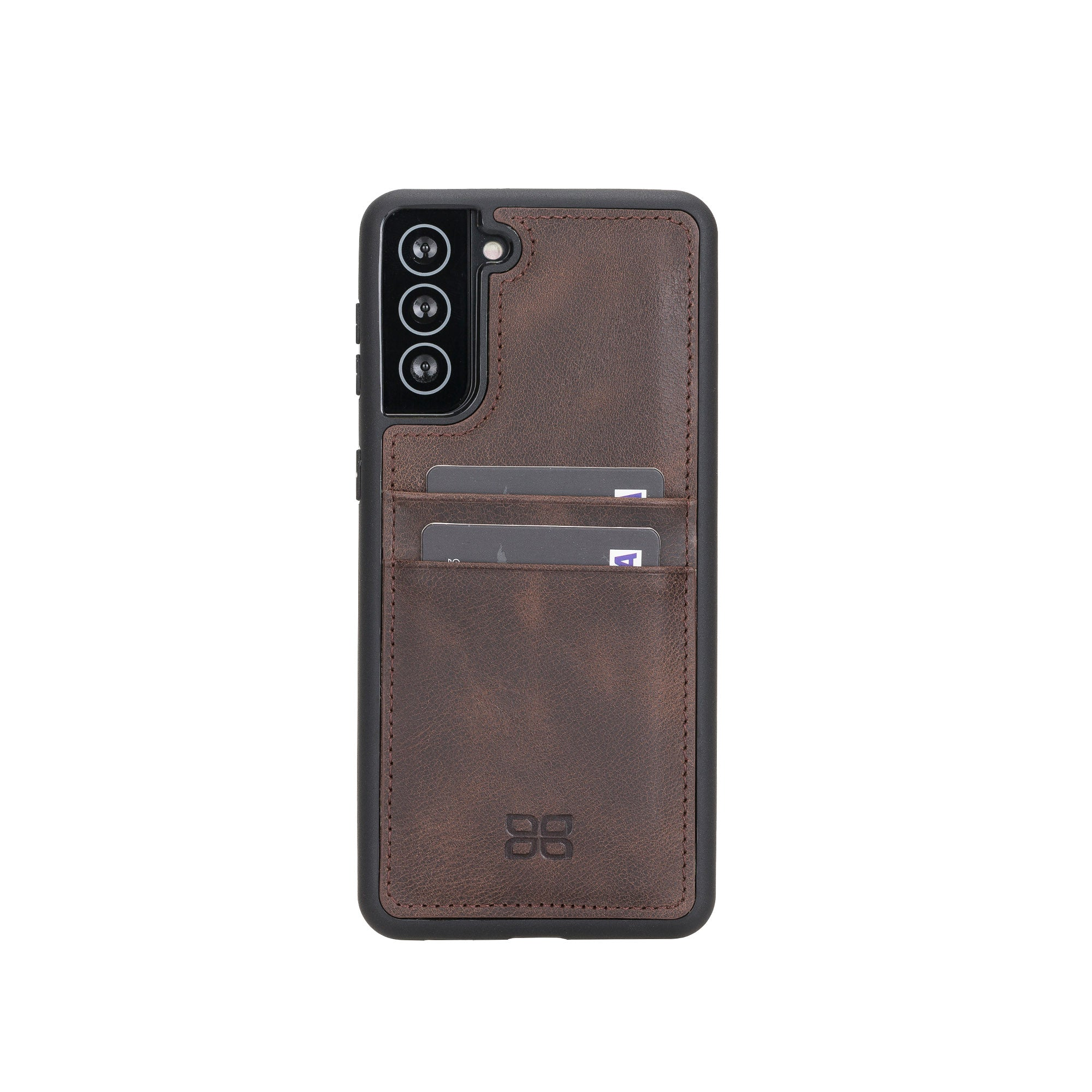 "Flex Cover Leather Back Case with Card Holder for Samsung Galaxy S21 5G (6.2"") - BROWN - saracleather"