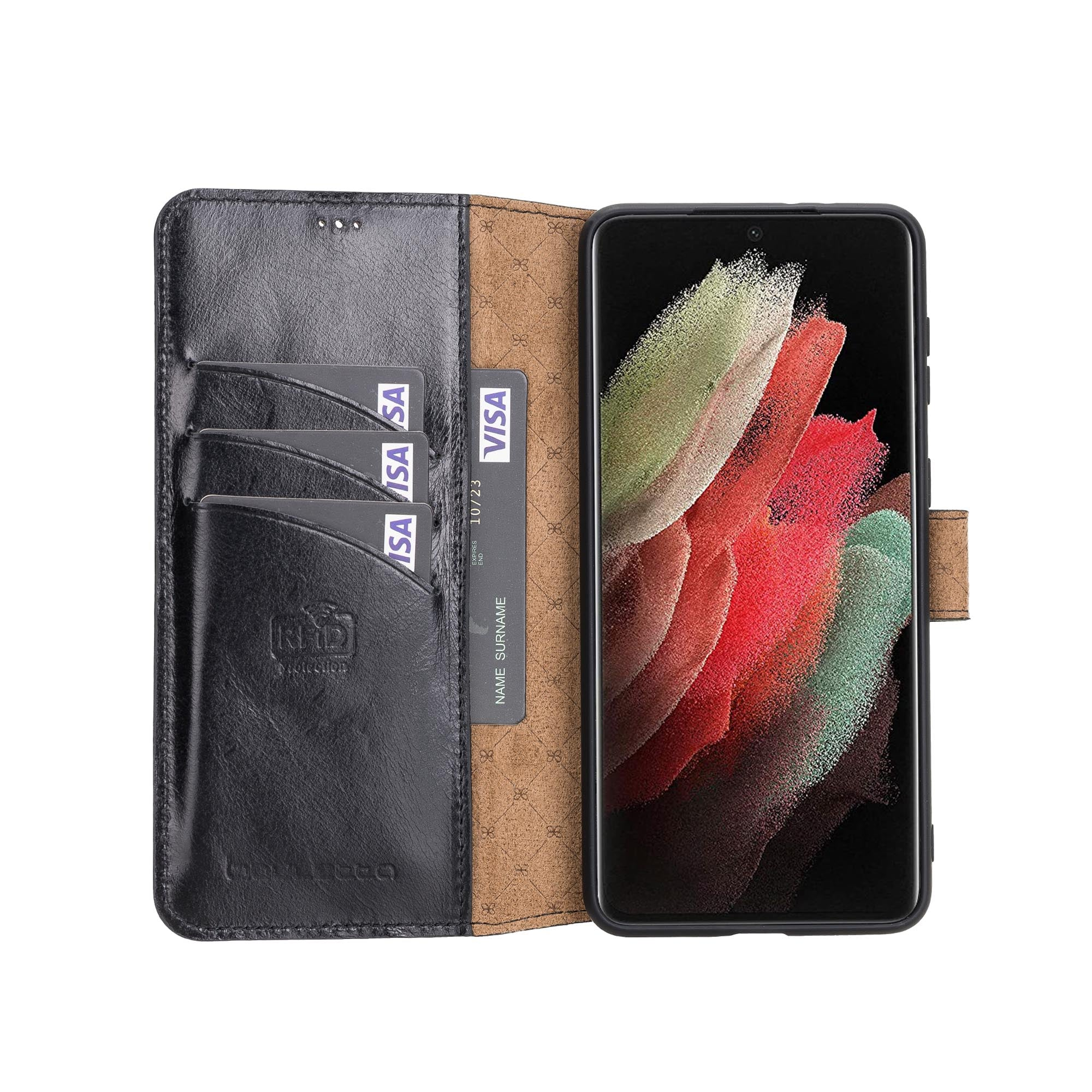 "Wallet Folio Leather Case with RFID for Samsung Galaxy S21 5G (6.2"") - BLACK - saracleather"