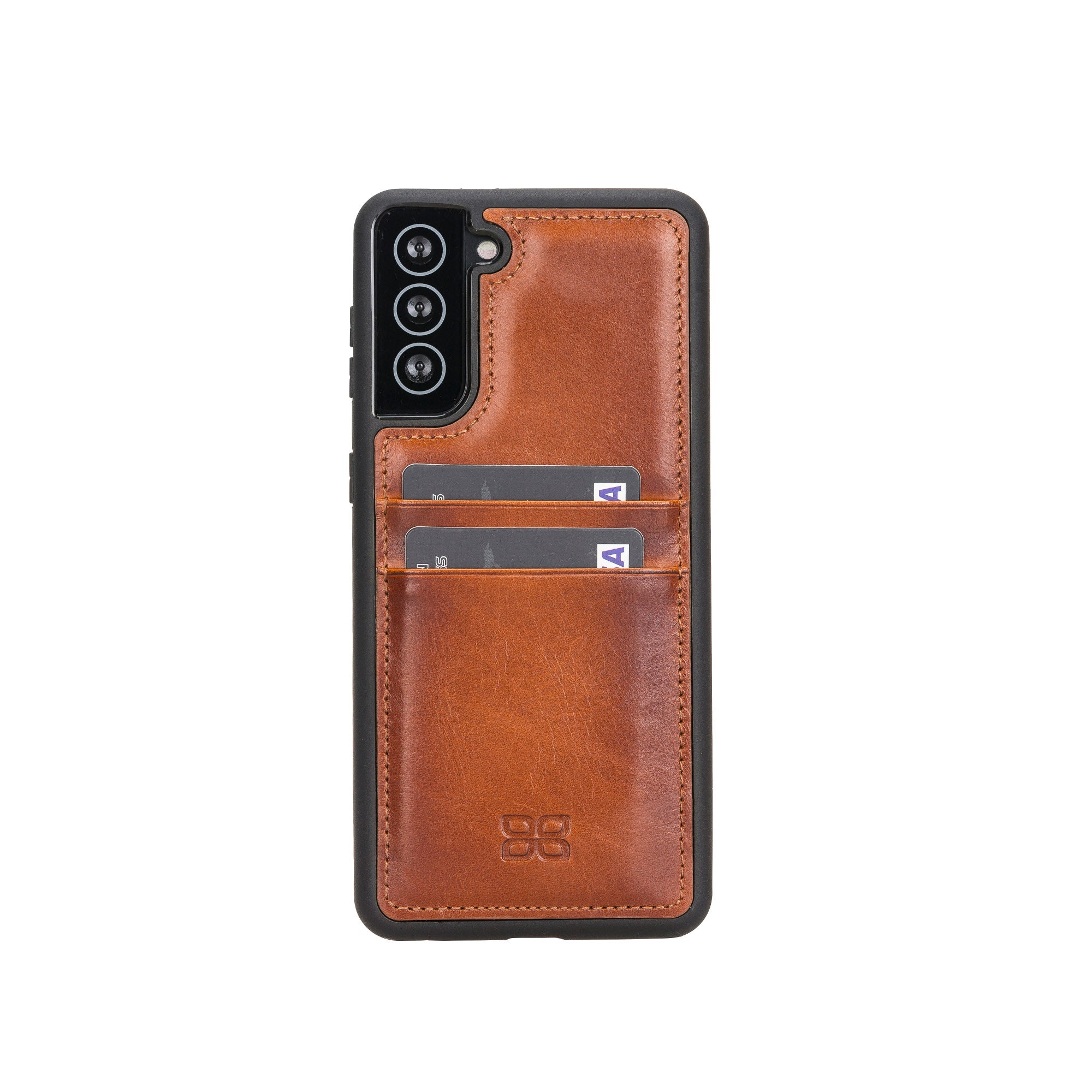 "Flex Cover Leather Back Case with Card Holder for Samsung Galaxy S21 Plus 5G (6.7"") - EFFECT BROWN - saracleather"