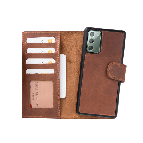 "Liluri Magnetic Detachable Leather Wallet Case for Samsung Galaxy Note 20 (6.7"") - BROWN - saracleather"