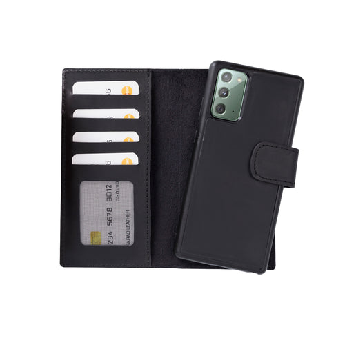 "Liluri Magnetic Detachable Leather Wallet Case for Samsung Galaxy Note 20 (6.7"") - BLACK - saracleather"